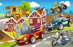 The vehicles in city, urban chaos v 3 - illustration for the children Stock Photo