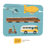 Vehicles collection vector illustration. Travel vehicles collection vector illustration. Transports for trip royalty free illustration