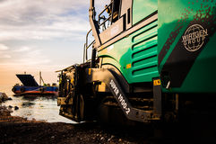 Vehicles On Construction Site In Seashore Royalty Free Stock Photos