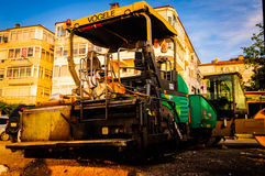 Vehicles On Construction Site In Seashore Stock Photography
