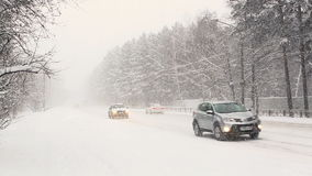 Vehicles in Difficult Weather Conditions Stock Photography