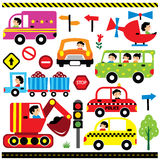 Vehicles with driver. Clip art set stock illustration