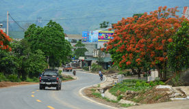 Vehicles driving on rural road in Moc Chau, Vietnam. Royalty Free Stock Photography