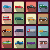 Vehicles flat icons Royalty Free Stock Photos