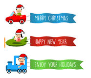 Vehicles flies with long banners for christmas royalty free illustration