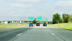 Vehicles on the Freeway driving towards St Joseph or Kansas City International Airport and St Louis. Missouri, USA - 5 October 2016: Vehicles on the Freeway stock images
