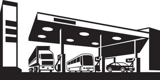 Vehicles at gasoline station. Vector illustration vector illustration