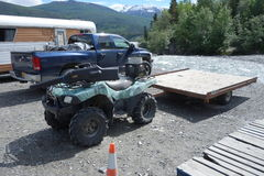 Vehicles gathered at the copper river for the annual residents only salmon fishing royalty free stock photos