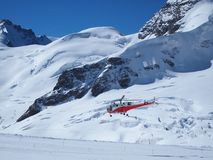 Vehicles helicopter at Jungfrau in Switzerland Stock Photos