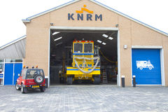 Vehicles of KNRM Royal Dutch Safe Guard Company at location Wijk aan Zee near b Royalty Free Stock Images