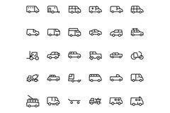 Vehicles Line Vector Icons 2 Stock Photography