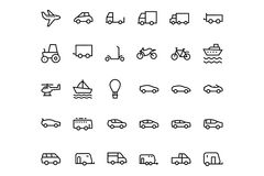 Vehicles Line Vector Icons 1. Beep beep! Get your designs out and about with this Vehicles Icon Pack! Included in this pack are thirty different vehicle icons Stock Image