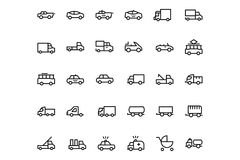 Vehicles Line Vector Icons 3 Royalty Free Stock Images