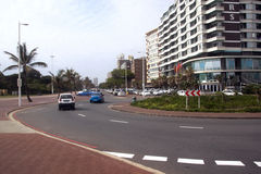 Vehicles Lining and Driving on Durban's Golden Mile, South Afric Royalty Free Stock Photography