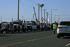 Vehicles Lining up for the Barefoot Mardi Gras Parade Royalty Free Stock Photo