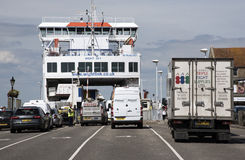 VEHICLES LOADING ONTO RORO FERRY AT YARMOUTH ISLE OF WIGHT UK - JULY 2016 Stock Photo
