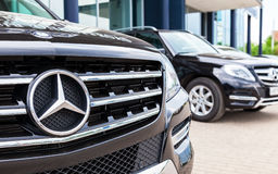 Vehicles Mercedes-Benz near the office of official dealer Stock Image