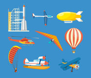 Vehicles: missile, hang-glider, helicopter, airship, balloon, paraglider, biplane, glider, aircraft. Air vehicles: missile with base, hang-glider, helicopter royalty free illustration