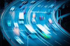 Vehicles motion blur on curve bridge approach Royalty Free Stock Image