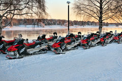 Vehicles are a number of snowmobiles Stock Image