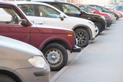 Vehicles parked in parking lot Royalty Free Stock Photography