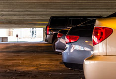 Vehicles in a parking garage Royalty Free Stock Photo