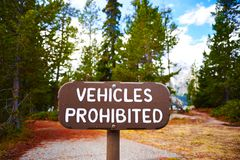 Vehicles prohibited wooden sign royalty free stock photos