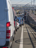 Vehicles queueing to cross English channel on Eurotunnel train stock images
