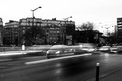 Vehicles on Road in Grayscale Photography Stock Image