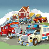 Vehicles on the road - illustration for the children Stock Photo