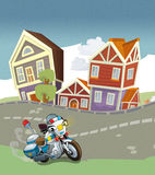 Vehicles on the road - motorbike caricature Royalty Free Stock Photos