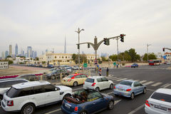 Vehicles and road traffic on Jumeirah roads Royalty Free Stock Photos
