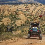 Vehicles on a rugged off road trail in Moab Utah royalty free stock image