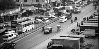 A busy highway in Dhaka city. Vehicles running in a highway around the Dhaka city unique editorial photo royalty free stock images