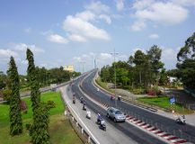 Vehicles running on the My Thuan bridge in Vinh Long, southern Vietnam Stock Images