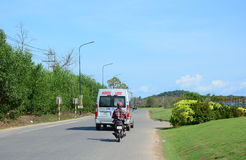 Vehicles running on street in Phu Quoc, Vietnam Royalty Free Stock Photos