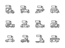 Vehicles sale black line icons set Stock Photos