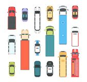 Vehicles - set of modern vector city elements. Isolated on white background for creating your own images. Different cars, buses, lorries, firefighting engine Royalty Free Stock Photos