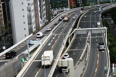 Vehicles on the Shuto Expressway, Tokyo Royalty Free Stock Photo