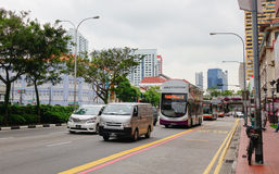 Vehicles on street in Bugis, Singapore Stock Photography