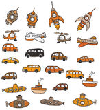 Vehicles symbols. Vector hand drawn illustration of vehicles Stock Images