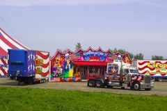 Vehicles and trailers of the Travelling American Circus in Ireland royalty free stock photography