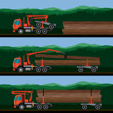 Vehicles for the transport of timber. Truck with crane hydraulic arm loading logs on dolly trailer on the forest background. Vector illustration Stock Image