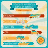 Vehicles in various types of tourism Stock Photos