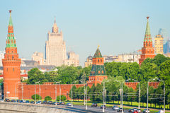 Vehicular traffic along  the Kremlin in Moscow. Vehicular traffic along the walls of the Kremlin in Moscow Stock Photo