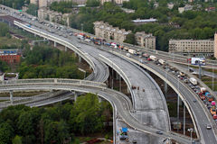 Vehicular traffic on built roundabout ring road Stock Photos