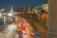 Vehicular traffic on the Kremlin embankment. In Moscow, Russia Stock Photos