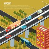 Viaduct City Isometric Composition. Vehicular viaduct bridge carrying traffic over busy outskirts city streets and adjacent valley isometric composition vector stock illustration