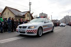 Vehicule militar romeno da polícia da parada do dia nacional Imagens de Stock