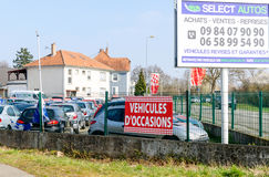 Vehicules d`Occasion translating as Used Cars garage Stock Photos